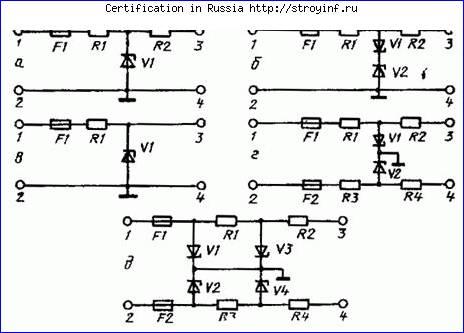 а - схема блока с балластным резистором; б - схема блока с балластным резистором для переменного тока; в - схема...